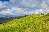 stock photo of pastures  - View of the mountain ranges of the Carpathians forests and mountain pastures - JPG