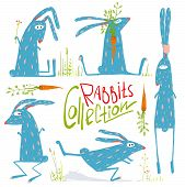 picture of hare  - Hare or rabbit baby animals collection children illustration - JPG