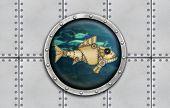 picture of ironclad  - Submarine armoured porthole metal background - JPG