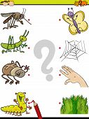picture of insect  - Cartoon Illustration of Education Element Matching Game for Preschool Children with Insects - JPG
