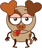 foto of dog ears  - Cute brown dog in minimalistic style with big hanging ears - JPG