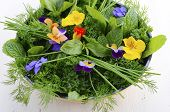 picture of edible  - Cooking with herbs concept with fresh herbs and edible flowers in modern yellow fry pan skillet on white wood table - JPG