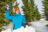picture of snowball-fight  - Boy ready to throw snowball while standing behind the snow wall with fir forest on the background during beautiful winter day - JPG