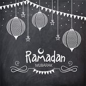 foto of ramadan mubarak card  - Holy month of Muslim community - JPG