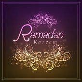 image of ramadan mubarak card  - Beautiful greeting card with shiny floral design for holy month of Muslim community - JPG
