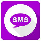 foto of sms  - sms pink flat icon message sign  - JPG