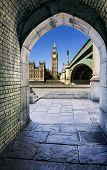 image of pedestrians  - View of Big Ben through the pedestrian tunnel at sunset London - JPG