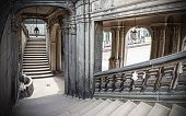 picture of stairway  - Old historic stone stairway Zwinger in Dresden Germany - JPG