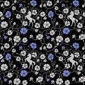 pic of unicorn  - Renaissance  Floral Seamless Pattern Vector - JPG