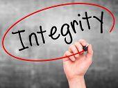 pic of integrity  - Man Hand writing Integrity black marker on visual screen - JPG