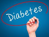 stock photo of diabetes symptoms  - Man Hand writing Diabetes with marker on transparent wipe board - JPG