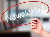 image of newsletter  - Man Hand writing Newsletter on visual screen - JPG