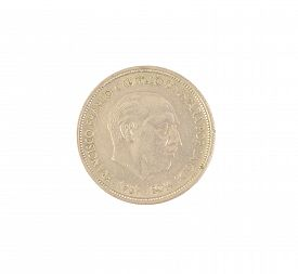 picture of spanish money  - An old Spanish coin of 50 pesetas showing Franco dictator face isolated on white background - JPG