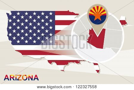 Usa Map With Magnified Arizona State. Arizona Flag And Map. Poster ...