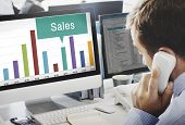 Постер, плакат: Sales Finance Selling Inventory Data Concept