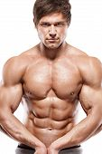 Strong Athletic Man  Showing Muscular Body poster