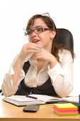 Young Businesswoman With Three Glasses