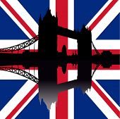 Tower Bridge London reflected against British Flag illustration