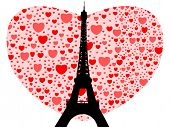 Eiffel tower happy valentines day with hearts illustration