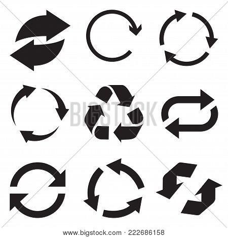 poster of Circle arrow icon. Refresh and reload arrow icon. Rotation vector arrows set. Vector illustartion.