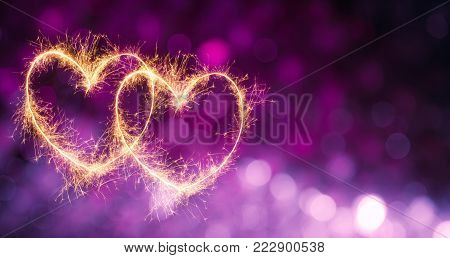 poster of Beautiful Festive violet purple background with two glowing gold hearts. Holiday greeting and invitation card with copy space. Web banner or flyer for Valentine's Day, wedding, birthday and anniversary