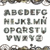 Alphabet - letters from rusty metal with rivets, vintage machine gears and cogwheel. Isolated on whi poster