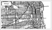 Chicago Illinois USA Map in Black and White Color. Outline Map. poster