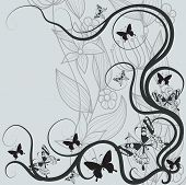 Постер, плакат: Абстрактный фон цветы и бабочки