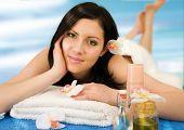 young woman enjoying body-care