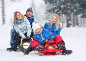 stock photo of toboggan  - young funny family is sledging in winter - JPG