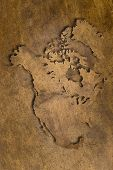 image of dtp  - map of north america on vintage copper - JPG