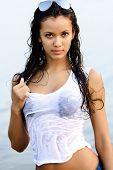 Beautiful Girl In Wet Shirt