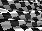 Checkered flag, finish flag, race flag. 3d rendering poster