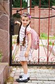 picture of bagpack  - Young school girl in uniform with pink bagpack goes to school - JPG