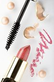 pic of makeup artist  - still life with cosmetics on the white background - JPG