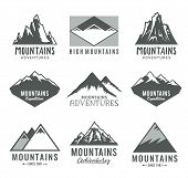 Continuous Line Mountains Icons poster