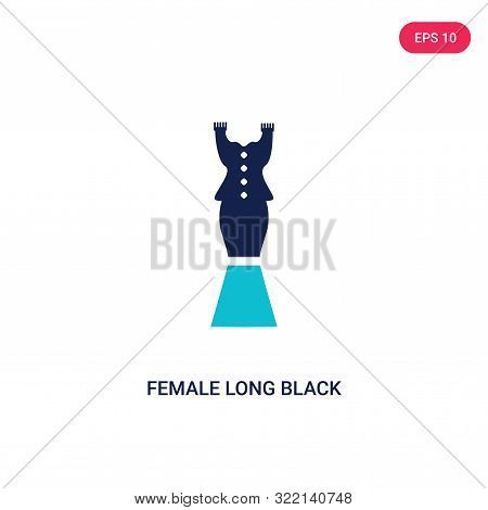 poster of female long black dress icon in two color design style.