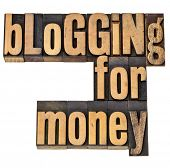 blogging for money - internet and entrepreneur, concept - isolated phrase in vintage letterpress woo