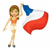 Illustration of a sexy woman cheering for france