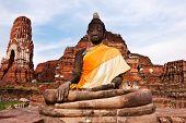 Ancient image buddha statue in ayutthaya