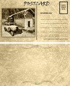 Vintage Empty Blank Motor Car Postcard Template Front Back