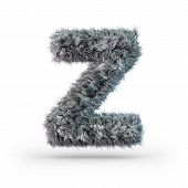 Uppercase Fluffy And Furry Gray Font. Letter Z. 3d Rendering poster