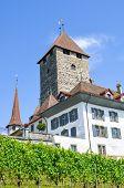 Historical Building Of Beautiful Spiez Castle In Spiez, Switzerland. Medieval Castle, Fortress. Swis poster