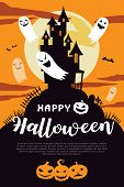 Happy Halloween Background With Full Moon And House. Halloween Background With Ghost And The Moon. H poster