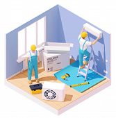Vector Isometric Technicians Installing Or Fixing Home Air Conditioner. Workers With Tools In The Ro poster