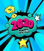 2020 Happy New Year Banner With Comic And Expression Speech Bubble With Typography. Vector Bright Dy poster