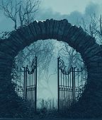 The Gates Is Open,halloween Scene,3d Illustration Conceptual Background poster