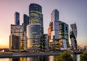 Moscow International Business Center Or Moskva-city At Sunset, Moscow, Russia. It Is A New District  poster