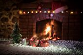 Christmas Room Interior Design, Xmas Tree Decorated By Lights Presents Gifts Toys, Candles And Garla poster