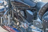 Close Up View Of A Shiny Motorcycle Engine. Chrome Motorcycle Engine Close Up poster